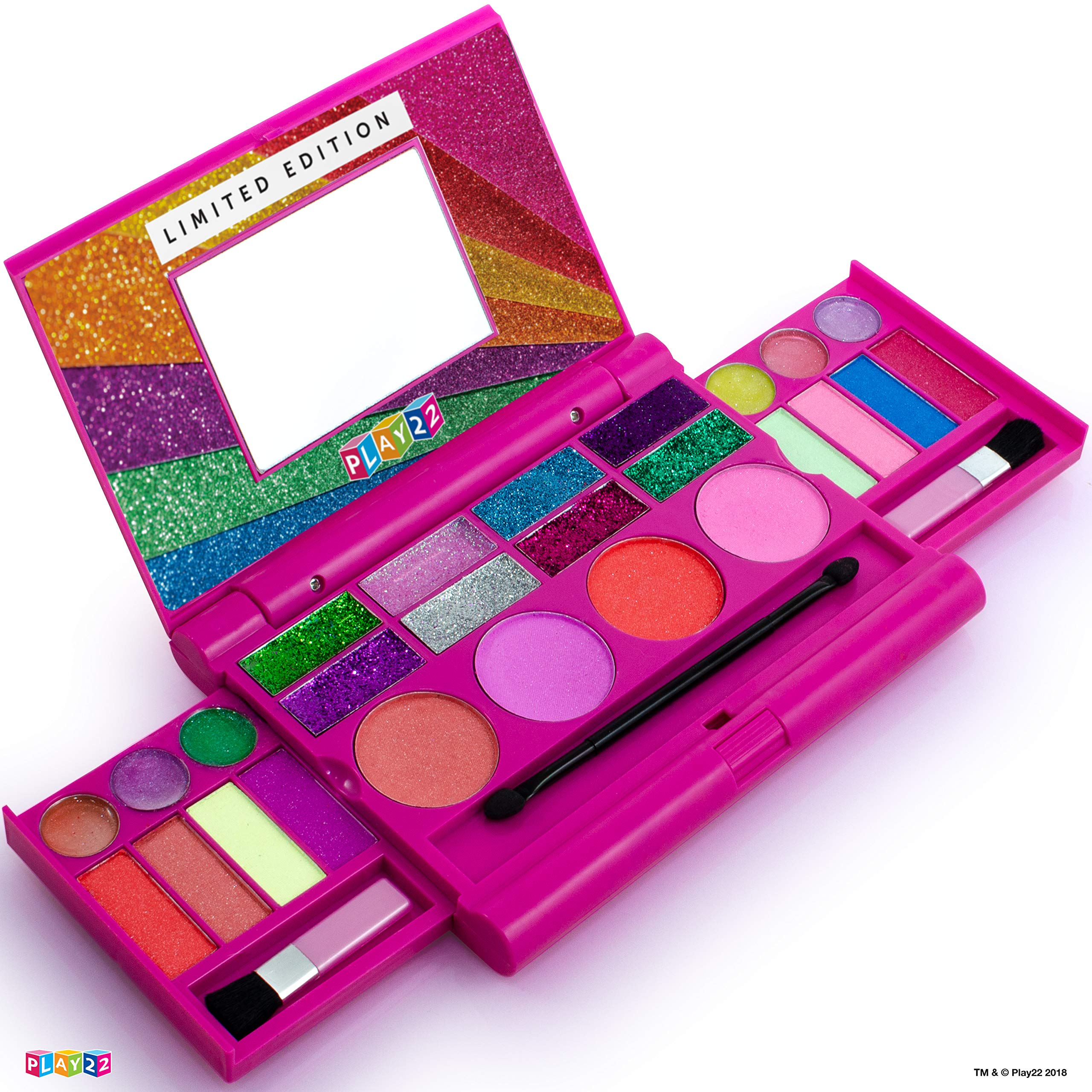 Kids Makeup Palette For Girl - Real Washable Kids Makeup - My First Princess Make Up Set Include 4 Blushes, 8 Eyeshadows, 6 Lip Glosses, 8 Glitter Glaze, Mirror, Brushes, Eyeshadow Wand - Best Gift by Play22