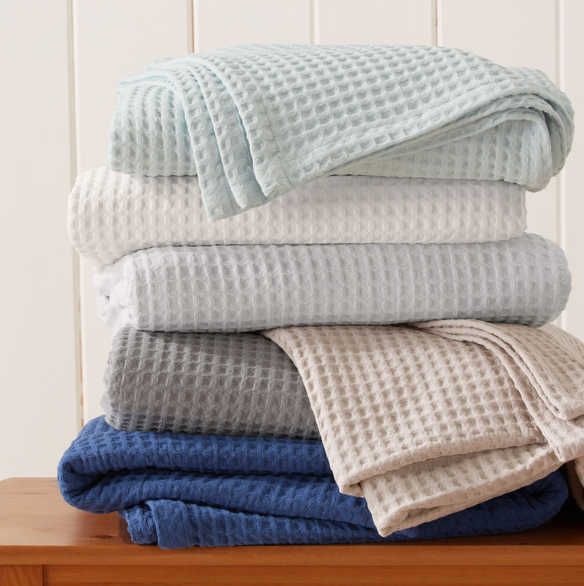 Great Bay Home 100% Cotton Waffle Weave Premium Blanket. Lightweight and Soft, Perfect for Layering. Havana Collection (Full/Queen, White)