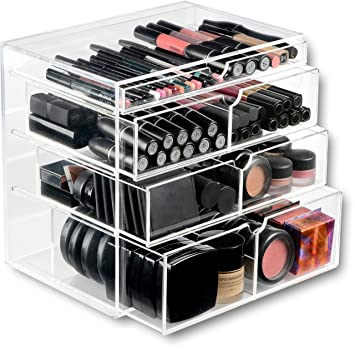 ORIGINAL BEAUTY BOX Acrylic Makeup Organizer Cosmetic Storage Drawers  Display Case 4 Drawers