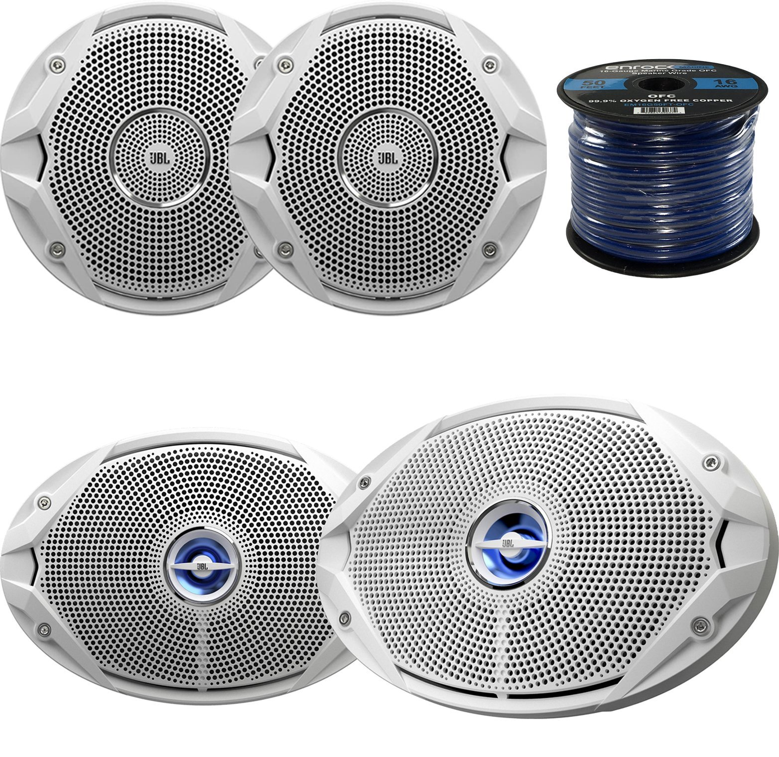 Marine Speaker Package: 2x JBL MS9520 6x9'' 2-Way White Coaxial Marine Speakers Bundle Combo With 2x JBL MS6510 6.5'' Inch Boat Speakers + Enrock 50 Foot 16g Speaker Wire by EnrockMarineBundle