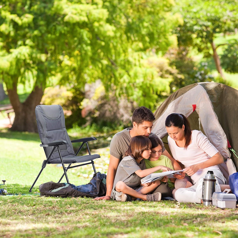 107 x 60 x 68 cm Pesca Ajustable para Jard/ín Gris Camping y Playa Poli/éster Silla Plegable Acolchada COMFORT