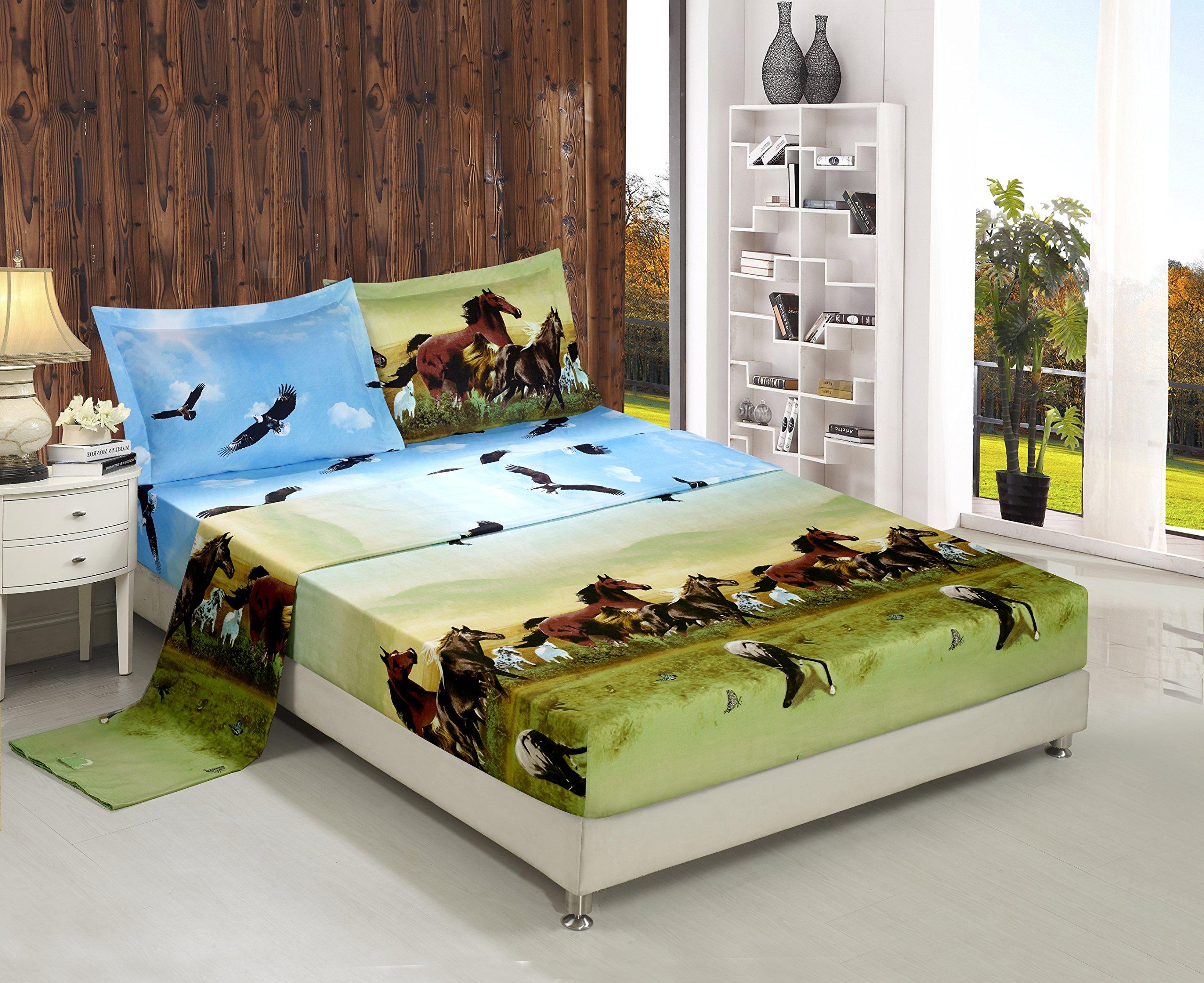 Bednlinens Luxury 4 Piece Sheet Set 3d Print Queen Size (HORSE-Y25)