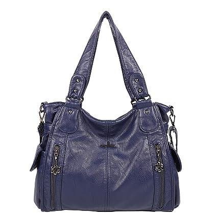Angelkiss 2 Sacs à Main Femmes Cuir Sacs Portés Main Bourses en Cuir Lavé Top Zippers Multi Pockets Sacs à Bandoulière 1193 (Violet) XqBy7vo8gr