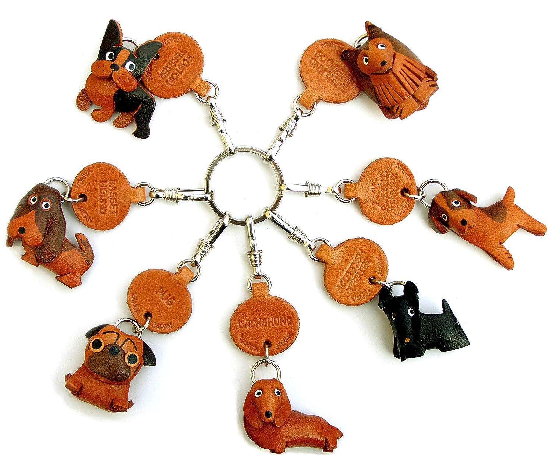 Teckel en cuir pour chien Petit Porte-cl/és VANCA craft-collectible Porte-cl/és fabriqu/é au Japon