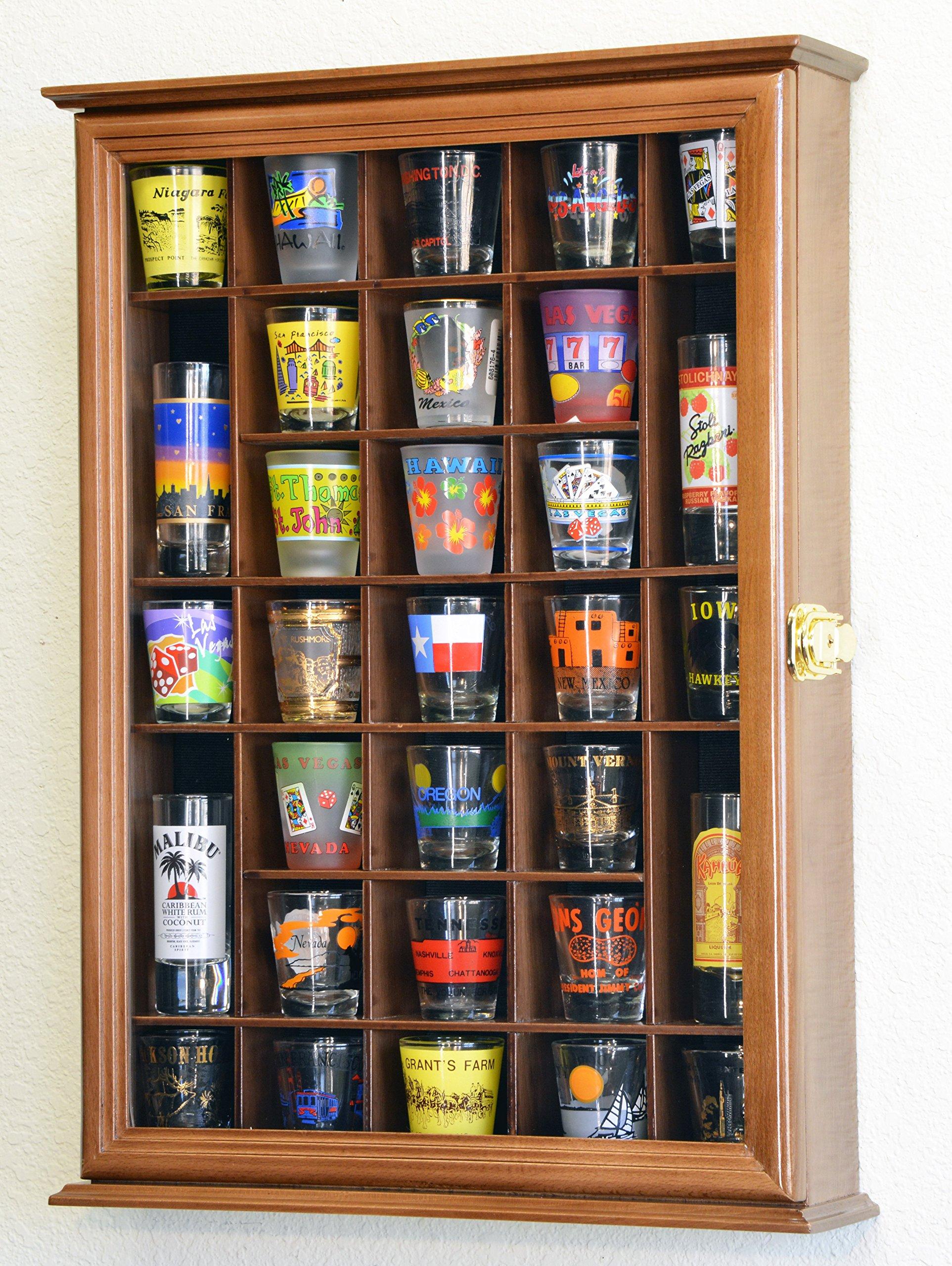 31 Shot Glass Shotglass Shooter Display Case Holder Cabinet Wall Rack -Walnut