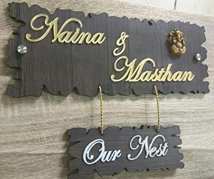 Buy Aarushi Creations Home Door Name Plate with Golden Mirror Shine Acrylic  Embossed Letters b975132e6