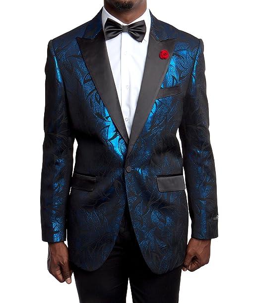 Amazon.com: Hombres Elegante Big Hojas Patrón del traje ...