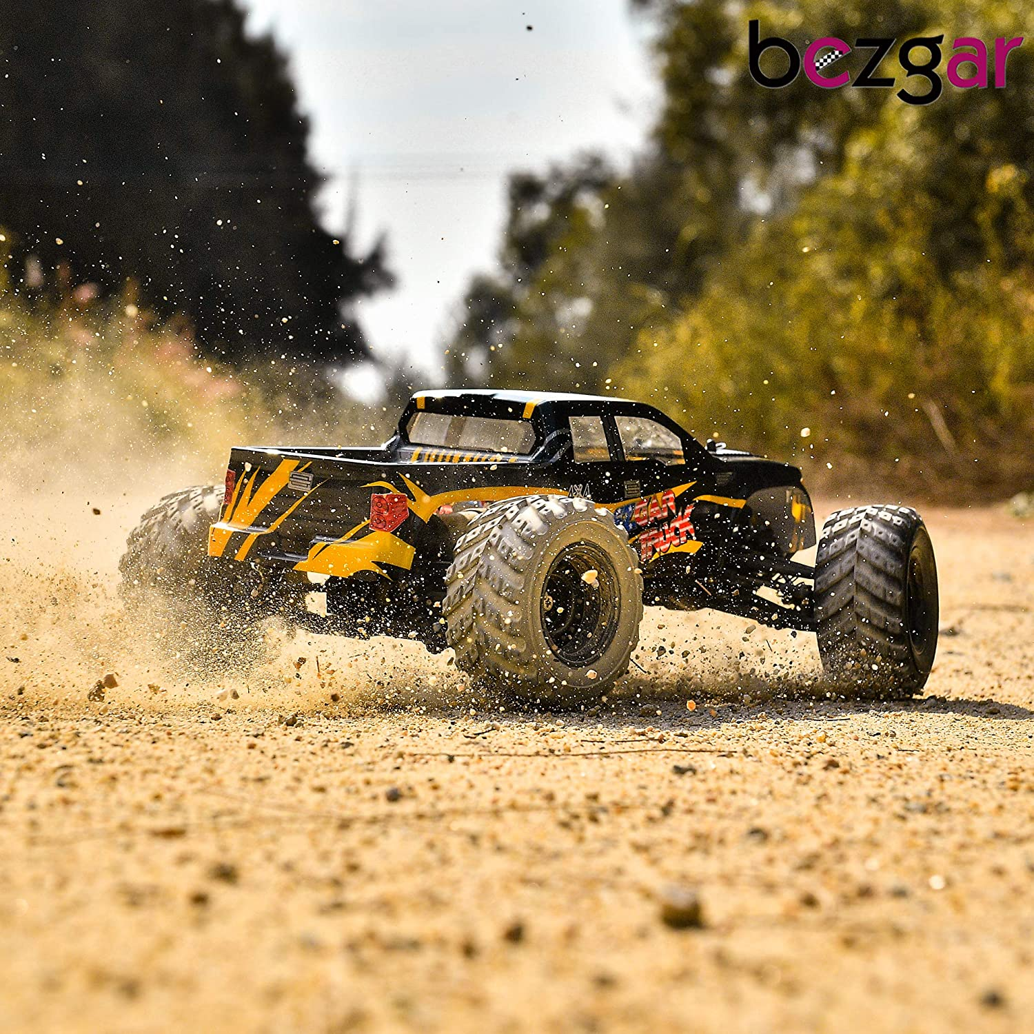 BEZGAR 1 Hobbyist Grade 1:12 Scale Remote Control Truck, 4WD High Speed 42 Km/h All Terrains Electric Toy Off Road RC Monster Vehicle Car Crawler with 2 Rechargeable Batteries for Boys Kids and Adults: Toys & Games