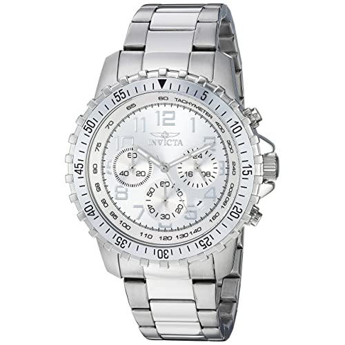 Invicta Mens II Swiss Quartz Stainless Steel Casual Watch, Color:Silver-