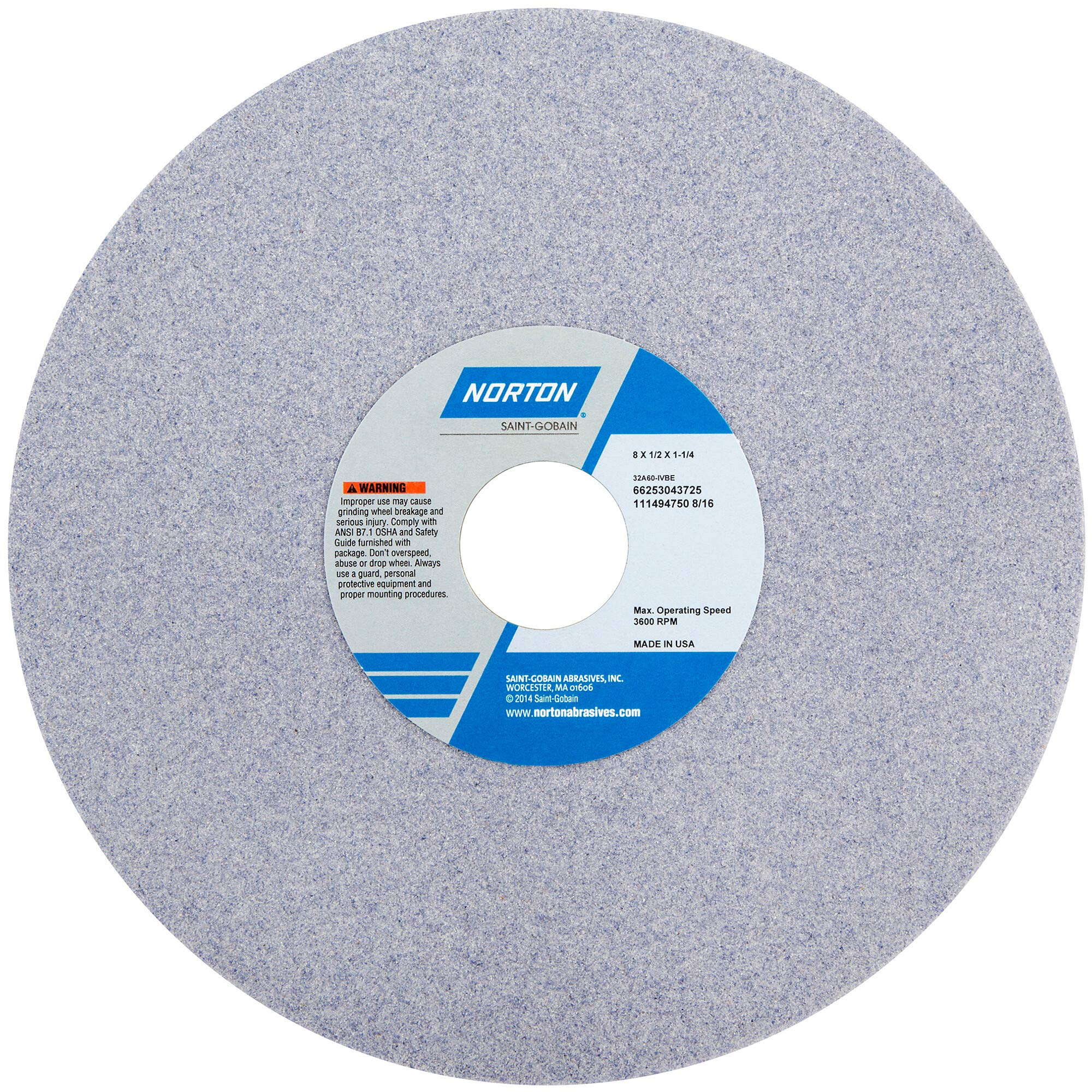 Norton 32A46-HVBE Type 01 Vitrified Straight Toolroom Grinding Wheel, Aluminum Oxide, 8'' Diameter x 1/2'' Width, 1-1/4'' Arbor, 46 Grit, Grade H, Purple (Pack of 1) by Norton Abrasives - St. Gobain