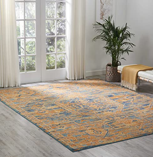 Nourison PSN07 Passion Modern Traditional Colorful Teal Sun Orange Area Rug, 8 x 10