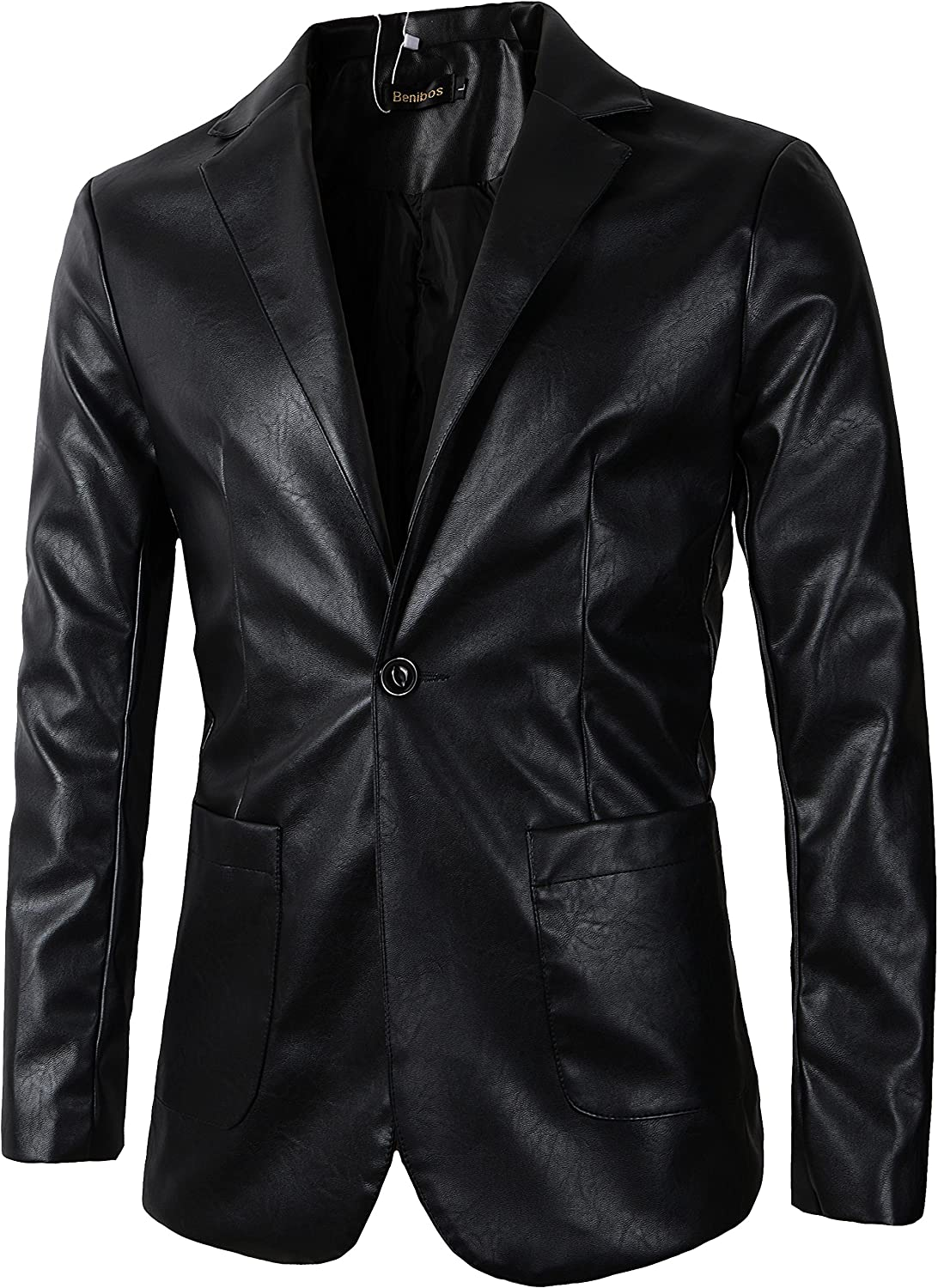 Benibos Mens Casual Pu Faux Leather One Button Suit Blazer