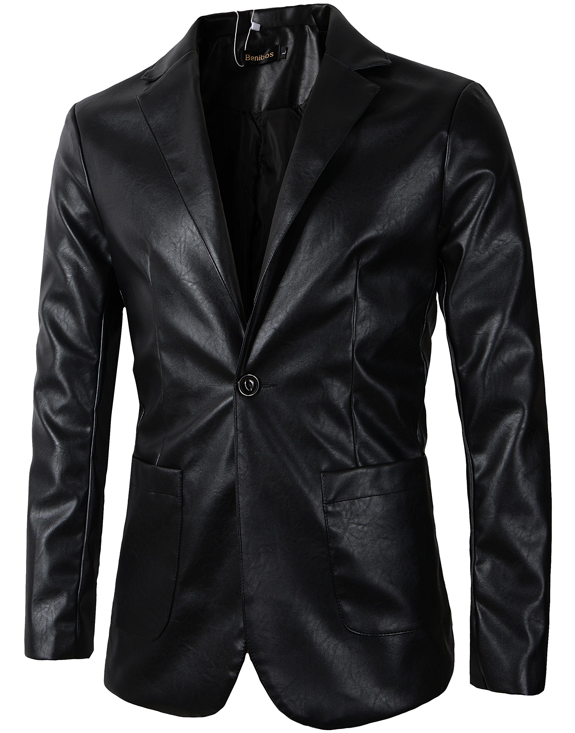 Benibos Men's Casual Pu Faux Leather One Button Blazer Suit Jacket (X22, M) by Benibos