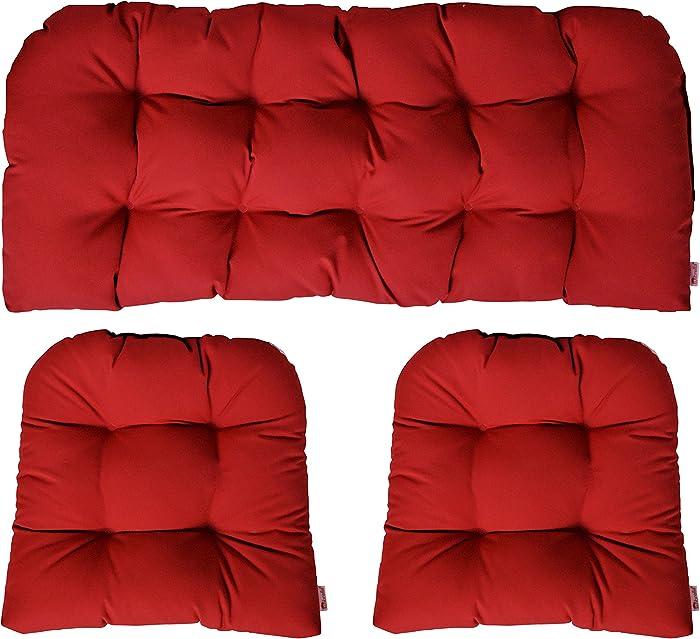 3 Piece Wicker Cushion Set - Indoor / Outdoor Wicker Loveseat Settee & 2 Matching Chair Cushions - Sunbrella Canvas Jockey Red