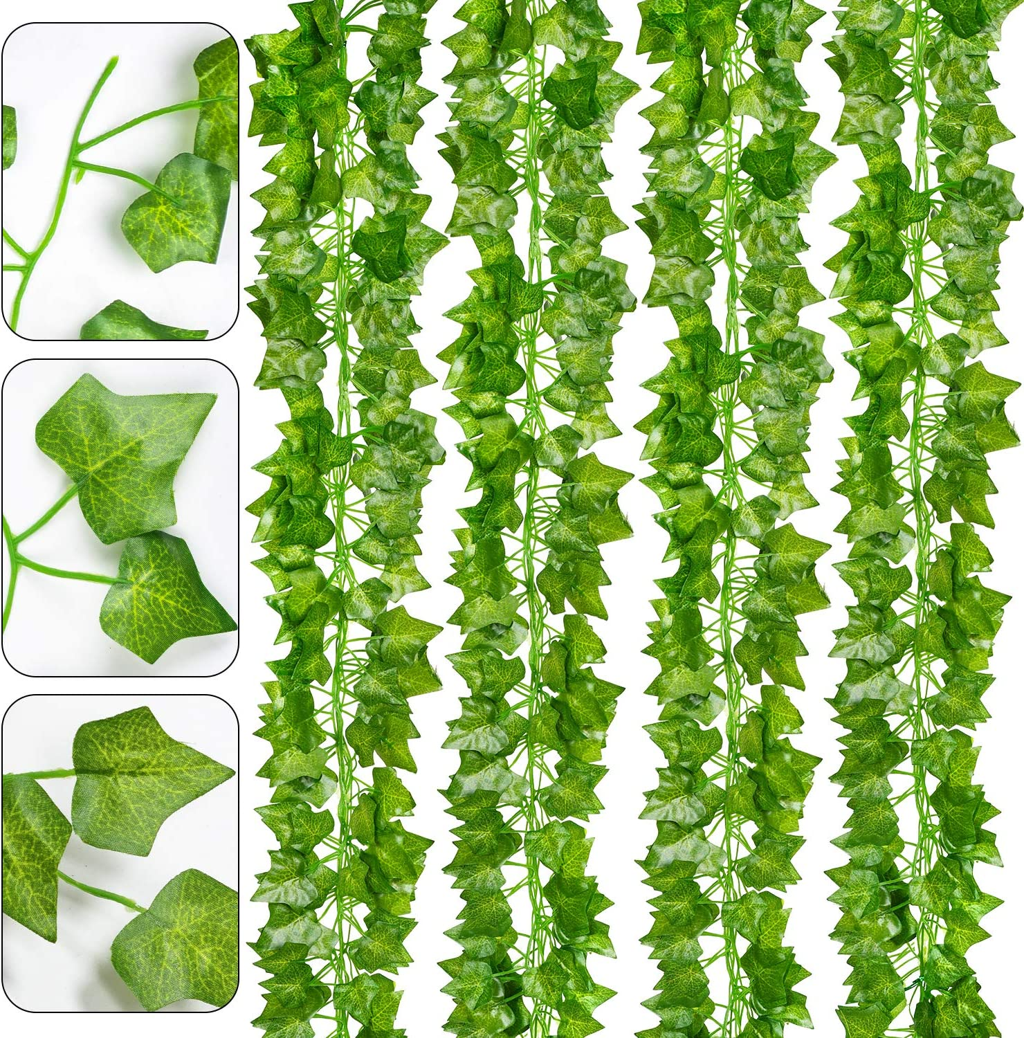 DearHouse 16 Strands Artificial Ivy Leaf Plants Vine Hanging Garland Fake Foliage Flowers Home Kitchen Garden Office Wedding Wall Decor, 112 Feet
