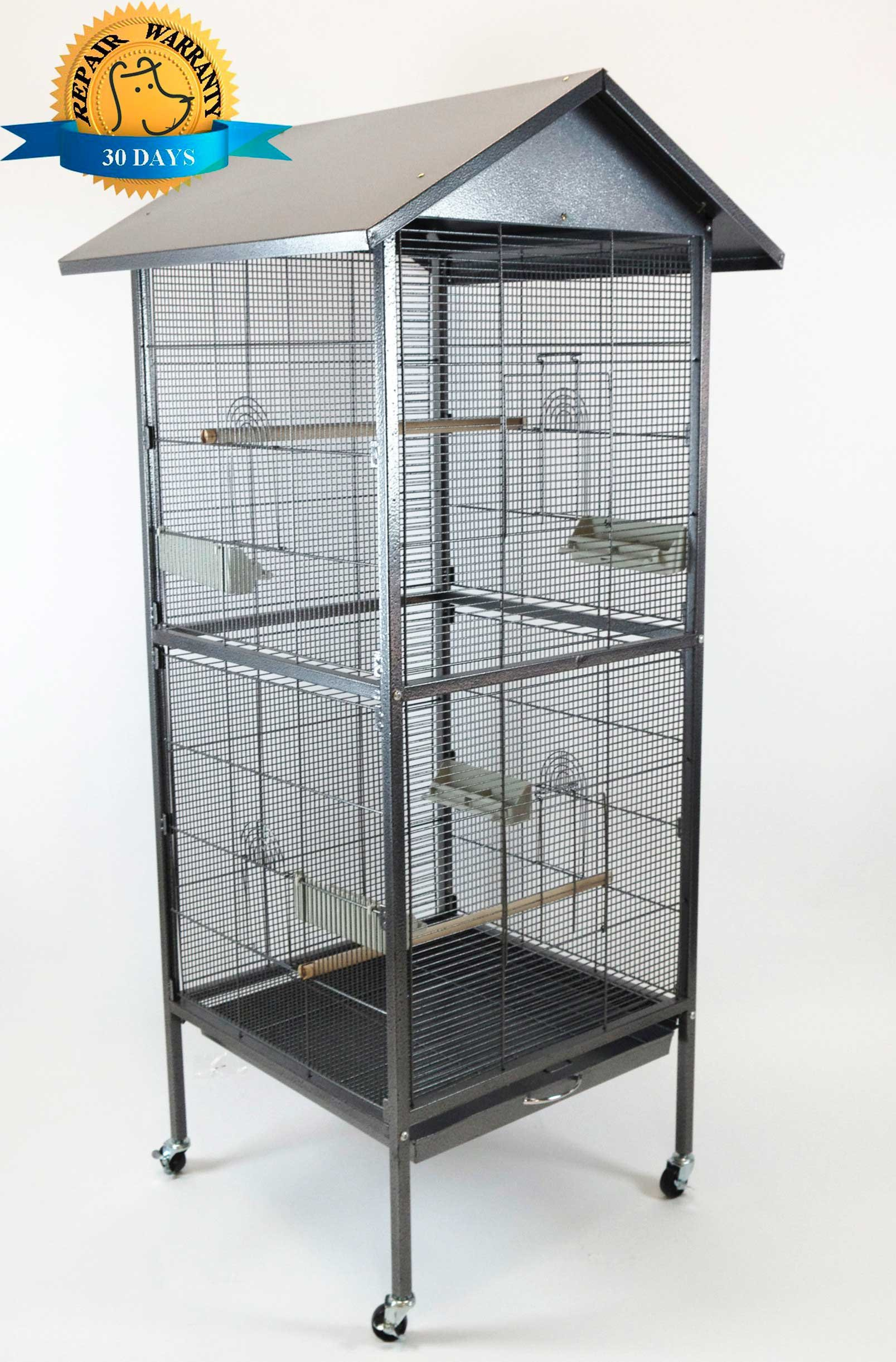 Homey Pet - 65'' House Shape Bird Cockatoo Macaw Cage with Roof Casters, Feed Door, Perch, Metal Tray. Size: 23 ½'' (W) x 23 ½'' (L) x 54 ¼' (H). Item ID:PR-1610-BSV
