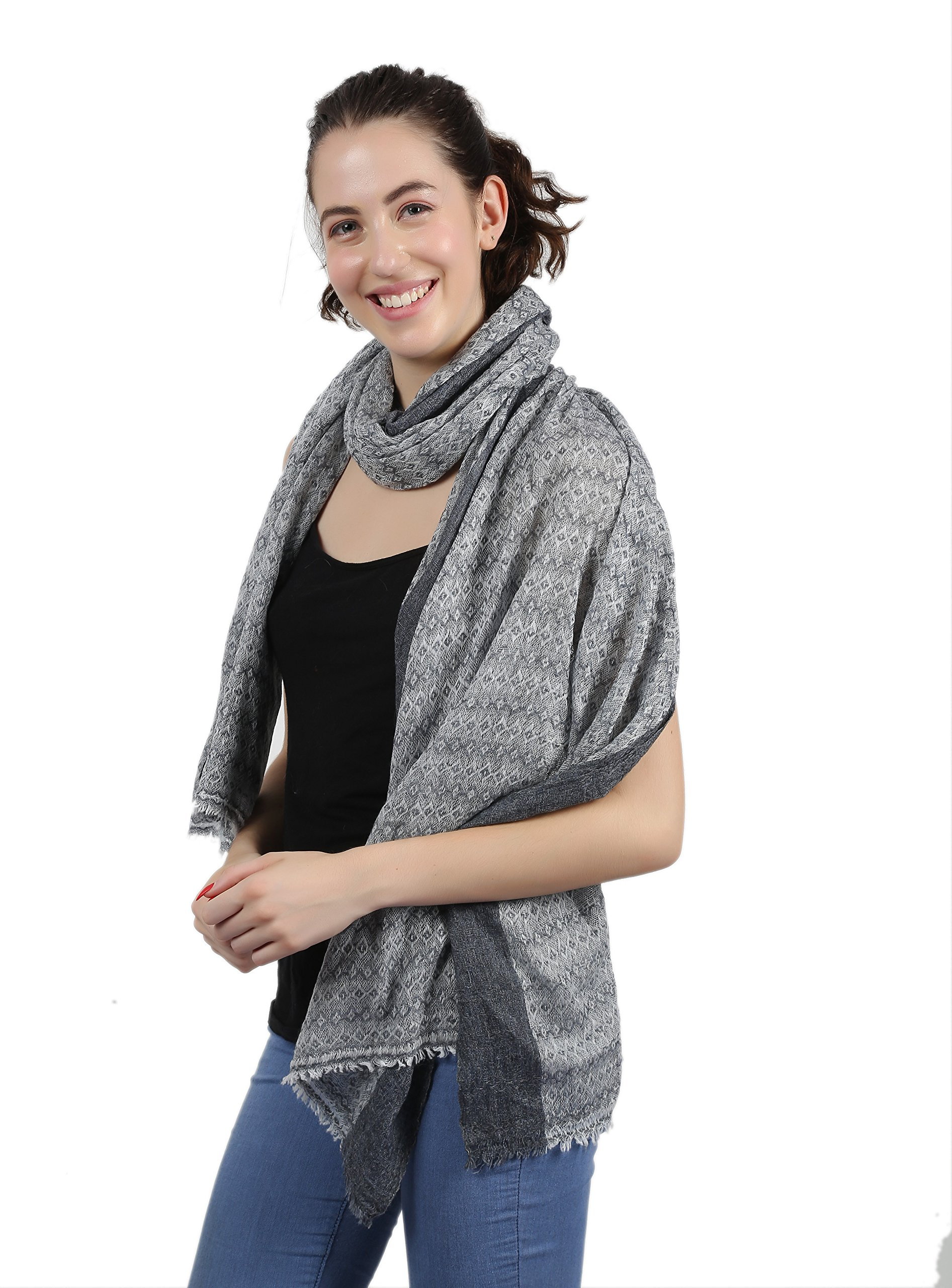 Merino Wool, Super Soft, Warm, & Light, Jacquard Weave, Oversize, Thick Scarf. X2084