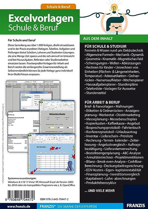Excelvorlagen für Schule & Beruf [PC Download]: Amazon.de: Software