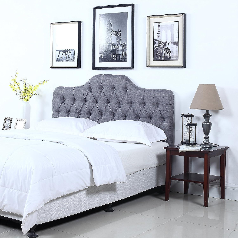 Delicieux Amazon.com: Divano Roma Furniture Classic Deluxe Tufted Grey Fabric  Headboard (Full): Kitchen U0026 Dining