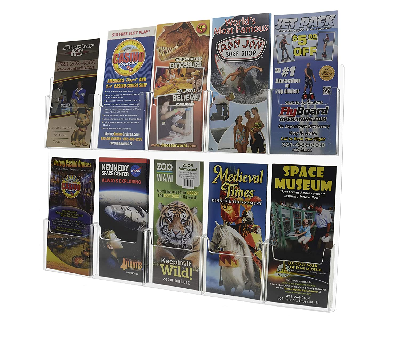 Marketing Holders Wall-Mount Tri Fold 2 Pocket Pamphlet Flyer Holder Brochure Display