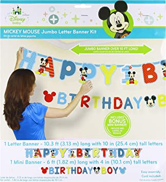 Amazon.com: Primer cumpleaños Mickey Mouse Jointed Banner ...