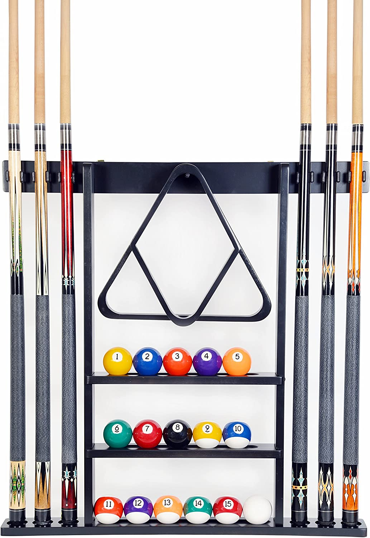 billiard pool snooker table wall mount hanging 6 cue sticks wood rack holder/_EJ