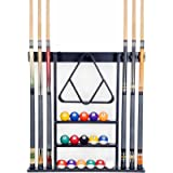 Cue Rack Only- 6 Pool Billiard Stick + Ball Set Wall Rack Holder Made of 100% Wood Choose Mahogany, Dark oak or Black…