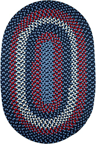 Super Area Rugs Homespun Braided Rug Indoor Outdoor Rug Textured Durable Blue Patio Deck Carpet, 2 X 3 Oval