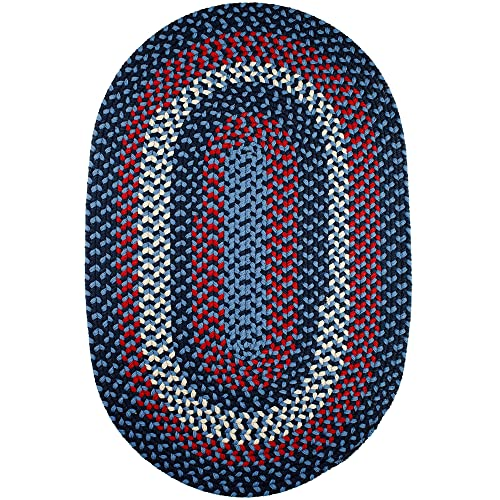 Super Area Rugs Homespun Braided Rug Indoor Outdoor Rug Textured Durable Blue Patio Deck Carpet, 5 X 8 Oval