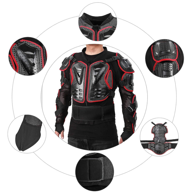 SunTime Motorrad Vollk/örper R/üstungsschutz Pro Street Motocross ATV Schutzhemd Jacke mit R/ückenschutz Schwarz S