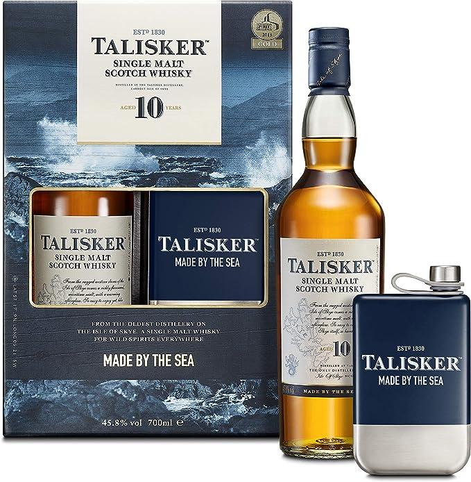 Talisker 10 Años Whisky Escocés Puro De Malta De La Isla De Skye con Estuche De Regalo y Petaca - 700 ml: Amazon.es: Alimentación y bebidas