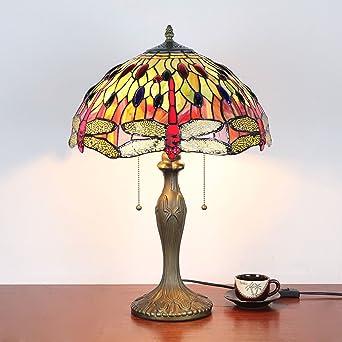 16 Pouces Orange Libellule Antiques De Luxe Tiffany Style Lampe De