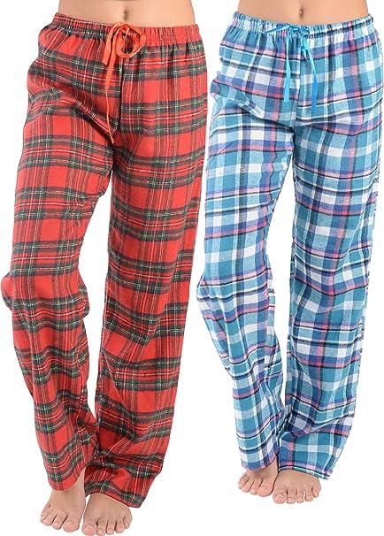 Cotton Blend Pajama Bottoms Womens Flannel Pajama Pants-Plaid Lounge Pants