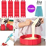 Best Silicone Cake Mold Magic Bake Snake and Cake Decorating Tips Combo, DIY Baking Mould Tool Design Your Pastry Dessert with Any Pan Shape, 4 PCS/lot Nonstick Flexible Reusable Easy to Use
