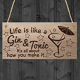 "Red Ocean ""Life is Like A Gin and Tonic It's All About How You Make It Funny W..."" Plaque, Wood, Brown"