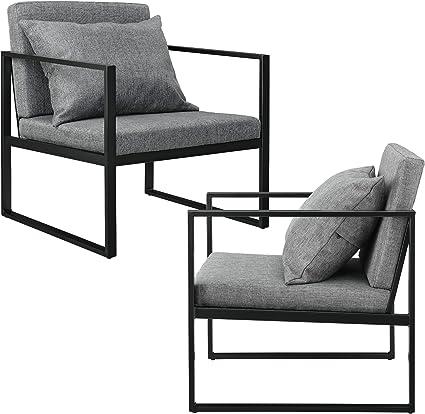 lot de 2 fauteuils design de salon avec accoudoirs siege et dossier rembourrre armature solide housse en polyester 70 x 60 x 60 gris fonce
