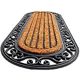 Onlymat Rubber Coir Anti-Slip Doormat (Black, Brown)