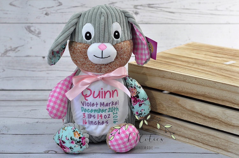 Personalized Stuffed Animal-Personalized Birth Rabbit Cubby-Personalized Stuffed Bunny-Birth Stats Bunny-Birth Annoucement Stuffed Animal