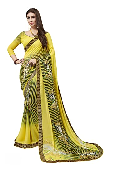 09d228b7f Gaurangi Creation Women s Printed Weightless Georgette Casual Wear Saree  (SPRM1007 Yellow)  Amazon.in  Clothing   Accessories