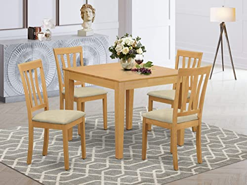 East West Furniture OXAN5-OAK-C 5-Piece Dining Set 4 Dining Room Chairs and a Wooden Table