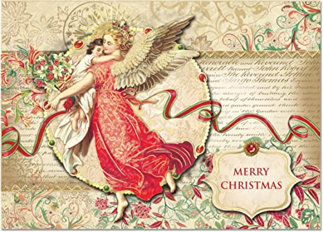 punch studio christmas dimensional greeting cards angel and child with gold foil embellishment set of
