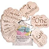 Heart's Sign 24 Designs Newborn Life Events Milestones Cards | Baby Monthly Weekly & Occassions Wood Discs Gift Set | Newborn