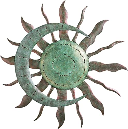 Wind Weather Indoor Outdoor Recycled Metal Celestial Moon and Sun Wall Art Sculpture 28 Dia. x 1.25 D
