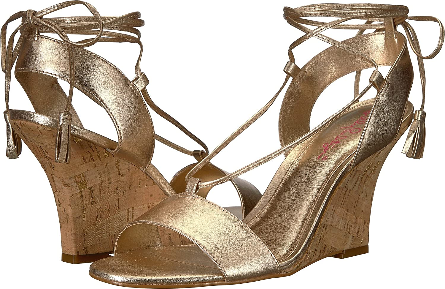Lilly Pulitzer Womens Aria Wedge B078WGBMJR 6 B(M) US|Gold Metallic