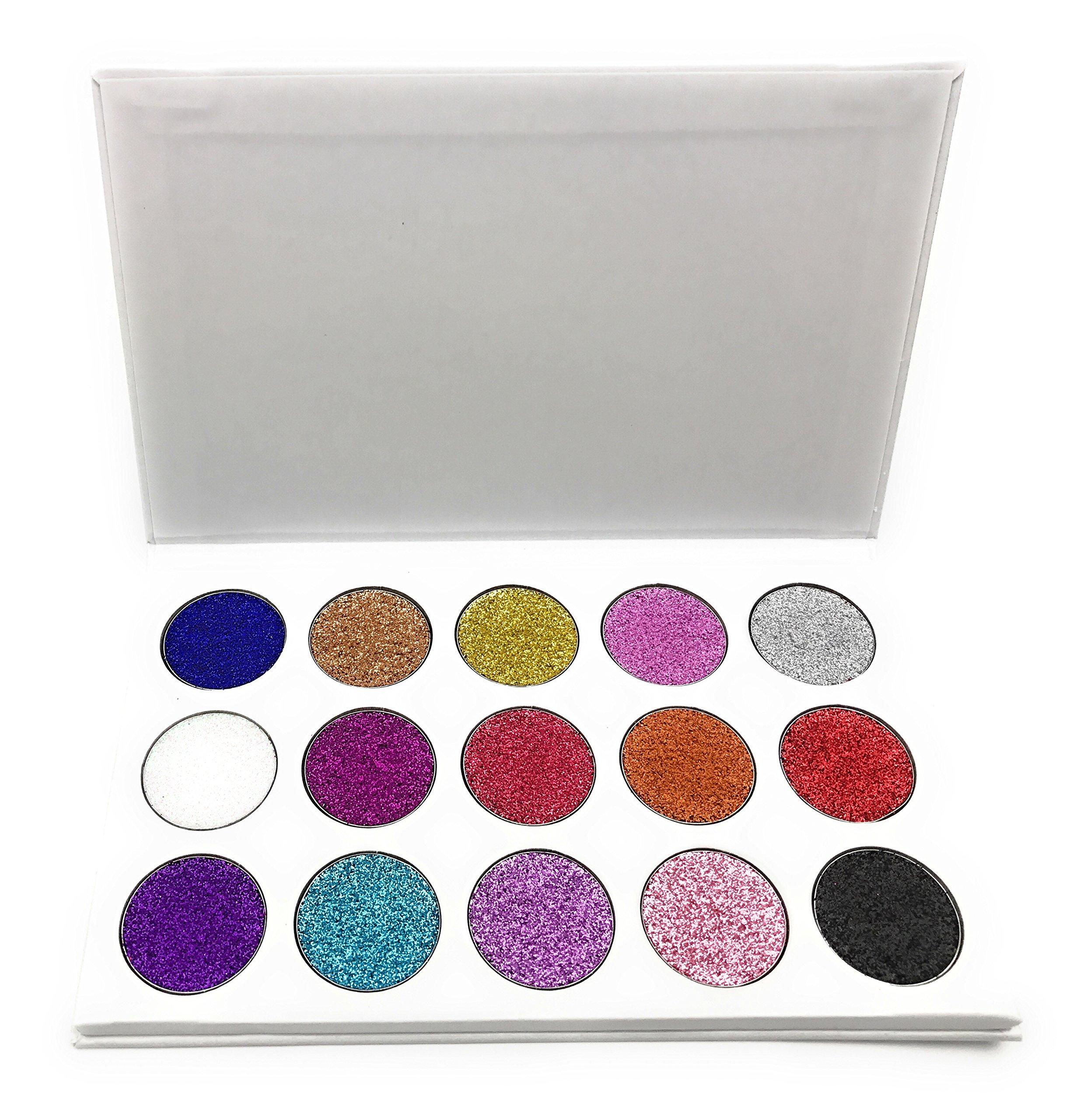 Pressed Glitter Eyeshadow Palette 15 Gel Rainbow Colors Highly Pigmented
