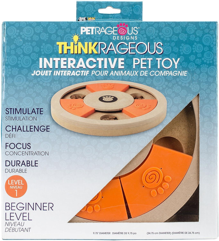 Pet Rageous Thinkrageous Interactive Beginner Level Puzzle Piece Pet Toy, 9.84 , orange