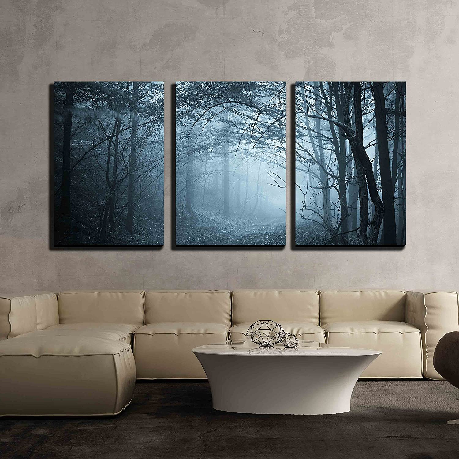 3 Piece Canvas Wall Art - Blue Light in a Mysterious Forest with Fog - Modern Home Art Stretched and Framed Ready to Hang - 16
