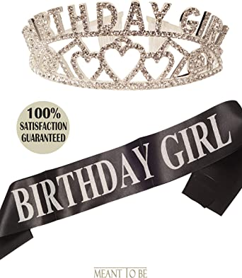 Dsaren 2 Pcs Happy Birthday Tiara with Birthday Sash Crystal Tiara Crown Headband 18th//30th for Girl Women Adult Anniversary Party Decoration Accessories 18 Years Old
