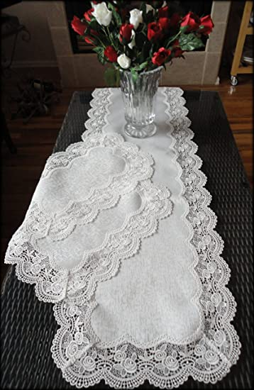 table doilies. Dresser Scarf ROYAL ROSE European Lace White Table Runner 54 Inch PLUS Two Place Mats Or Doilies L