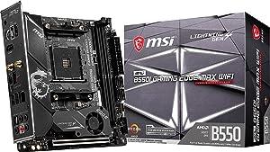 MSI MPG B550I Gaming Edge MAX WiFi Gaming Motherboard (AMD AM4, DDR4, PCIe 4.0, SATA 6Gb/s, Dual M.2, USB 3.2 Gen 2, HDMI, Wi-Fi AX, Mini-ITX, AMD Ryzen 5000 Series Processors)